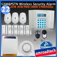 Wholesale Solar Burglar Alarm Wireless - Wholesale-DIY Wireless Home Burglar Alarm System LCD 40 Zones GSM PSTN Dual Network w Wireless Solar Siren iHome328MG22