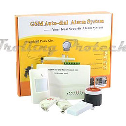 Wholesale Manual Home Alarm System - Wholesale-Wireless GSM Auto-dial Alarm System For Home Security System with PIR Door Sensor 900 1800 1900MHz with English Russian Manual