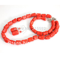 Wholesale Red Coral Beads Necklace Sets - Wholesale-Luxury Nigerian African Wedding Bead Set Red Coral Beads Jewelry Set Necklace Bracelet Earrings Free Shipping CJ064