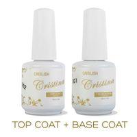 Wholesale Cristina Gel - Wholesale-2PCS LOT Cristina Professional Soak Off Gel Nail Polish Nail Art Top Coat Base Coat Set Uv Nail Gel Varnish Nail Tools