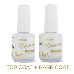 Wholesale Cristina Uv Gel - Wholesale-2PCS LOT Cristina Professional Soak Off Gel Nail Polish Nail Art Top Coat Base Coat Set Uv Nail Gel Varnish Nail Tools