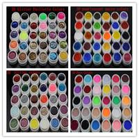 Wholesale Pearlescent Gel - Wholesale-New 120 Mix color vu gel nail polish Pure+Glitter Paillette+ Glitter+pearlescent nacre colors nail art uv gel set Manicure kit