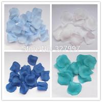 düğün mavi yaprakları toptan satış-Toptan-2000 adet Moda düğün turqoise İpek Favor Hediye Dekorasyon için gül petal sepeti kraliyet mavi Çiçekler çiçek konfeti 20 paketi