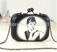Wholesale Box Monroe - Wholesale-2015 New 5 Colors Women Handbag Marilyn Monroe and Audrey Hepburn Pattern Women Clutch Chain Party Box Bags Evening Bag WB9002