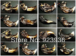 Wholesale Tibet Bone Beads - Wholesale-FREE SHIPPING Lots 10 PCS Tibet Pendant Tibet Man's Cool Totem Yak Bone Gothic Biker Pendant&Necklace F&SH
