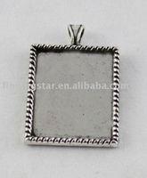 Wholesale Tibetan Picture Frame Charm - Wholesale-50PCS Tibetan silver Cabochon Settings Pendant Trays glue on bail picture frame rectangle charm A12192