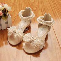 Wholesale Kids Dress Shoes Beige - Wholesale-Brand new SummerChildren Shoes princess girls Sandals little Girls Pearl flower Sandals Dress Shoes Beige And Pink Kids Sandals