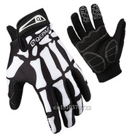 Wholesale Cycling Skeleton Gloves - Wholesale-Mens Women Sport Racing Motorcycle Gel MTB Bike Bone Skeleton Bicycle Glove Full Finger Cycling Gloves Plus Size M L XL Hot 9013