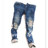 Wholesale Leopard Hot Pants - Wholesale-Free shipping! Wholesale Hot sale 2015 spring new Korean Leopard vain pencil thin jeans hole flanging patch Trendy pants, NK33