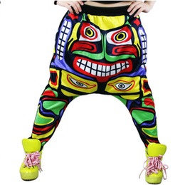 Wholesale Women Baggy Dance Pants - Wholesale-Street Women Face Drop Croth Baggy Trousers Hip Hop Small Feet Dance Harem Pants Freeshipping