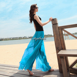 Wholesale Elegant Wide Leg - Wholesale-Dropshipping Stylish Fashion 2015 Women's Elegant Chiffon Gauze Wide Leg Pants With Belt Summer Long Trousers SV000772#006 25
