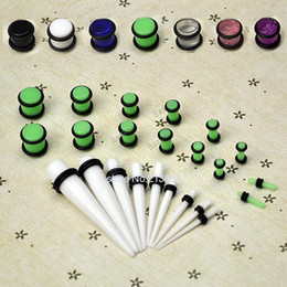 Kit Cónico Baratos-Venta al por mayor-23 Pc Ear Taper + PLUG Kit 14G-00G 1.6mm-10mm calibradores Expander Set Stretchers 31