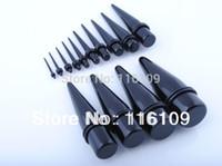 medidores de ordem venda por atacado-Atacado- (Min. Order $ 10) Frete grátis Big Gauge Black Acrílico Ear Taper Tamanhos Mistos 16mm-25mm