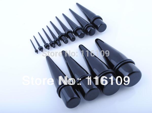 Venta al por mayor (orden mínima de $ 10) Envío gratis Big Gauge Acrílico negro Ear Taper Mixed Sizes 16mm-25mm