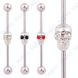 Wholesale Industrial Barbells - Wholesale-Skull Body piercing Industrial barbell Kito jewelry Wholesale 14G 316L Surgical Steel TAIERS free shipping