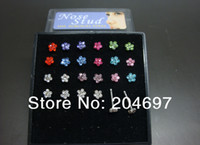 Wholesale Nose Rings Display - Wholesale-Stainless Steel Multicolor Crystal Flower Nose Stud Gem Nose Ring Body Piercing Jewelry 24pcs with Display Free Shipping