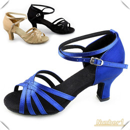 Wholesale Blue Ballroom - Wholesale-New Women Black, Blue, Khaki Ballroom Latin Salsa Tango Dance Dancing Shoes 4 Sizes for Girl Women 16862