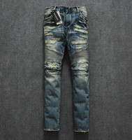 Wholesale High Quality Denim Jeans - Wholesale-New famous Brand balm*in men jeans designer Denim Men's biker Jeans high Quality Destroyed Motorcycle Pants