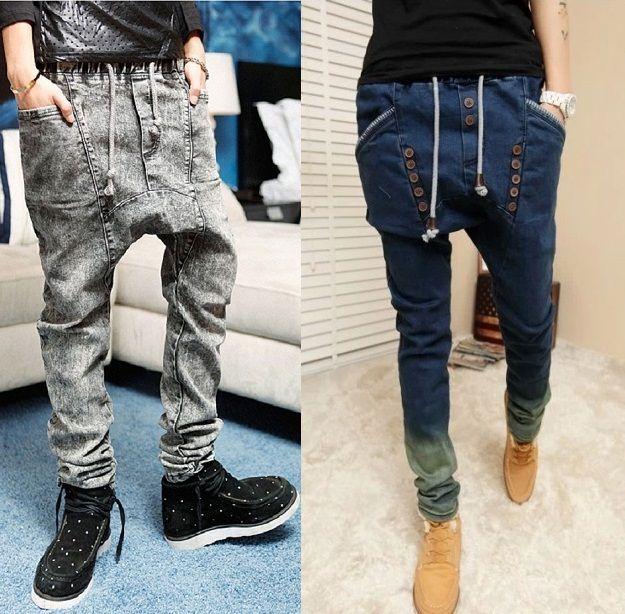 Wholesale male HIPHOP Low Drop crotch pants men denim Jeans Harem hip hop pants men baggy pants Stretch trousers loose pantalon