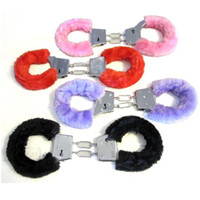 Wholesale Furry Animals - Wholesale-10pcs Lot Free Shipping Novelty Gift Adult Sexy Game Hen Night Party Fuzzy Furry Soft Metal Handcuffs