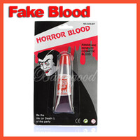 Wholesale April Fools Tricks - Wholesale-Fake Blood Bleeding Gel Plasma Makeup Stage Tube April fool Day Halloween Party Horror Dress Costume Joke Trick Shock Red Toy