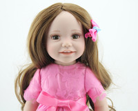 Wholesale Baby Girl Hair Year - Wholesale-Fashion Full Vinyl American 18 Inches Girl Doll Kids Toys Long Hair Smile Girl Hobbies Doll Realistic Kids Toys