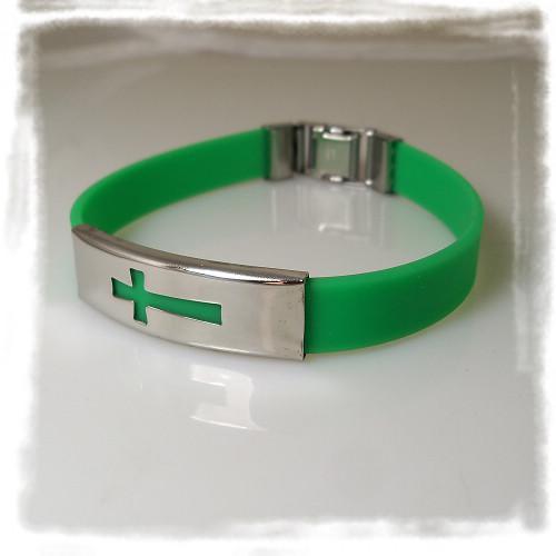 Großhandel Mix Farbe Kreuz Silikon Armband Edelstahl Schnalle Armbänder