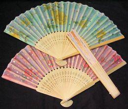 Wholesale Asian Folding Fans - 100pcs Handcraft Asian Chinese Silk folding Bamboo Fans