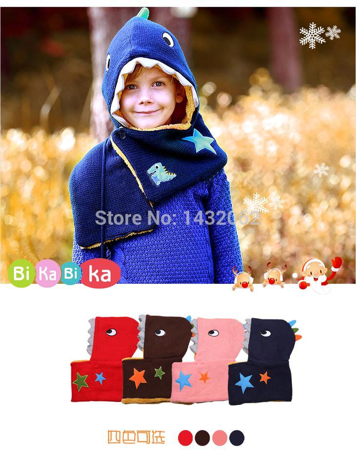الجملة ، حار مبيعات الأطفال قبعة عيد الميلاد وشاح يحدد الفتيان الفتيات بحرارة جميلة قبعة ديناصور الكرتون يحدد الاطفال شال الشحن المجاني