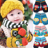 Wholesale Baby Owl Gloves - Wholesale-Free Shipping New Children Winter Gloves Baby Gloves Warm Gloves Lovely Owl And Robot Style Mittens For Kids 9 Colors
