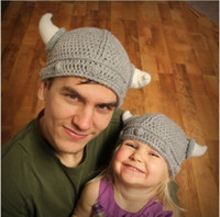 Wholesale Kids Knit Viking Hats - Wholesale-HOT! Fashion Family Fitted Winter Novelty Hat Handmade Crocheted Viking Horns Hats Knitted Kids And Adult Skullies Caps ,HT066
