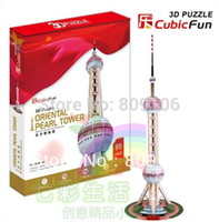 Wholesale Towers Free Paper Models - Wholesale-Wholesale ,Free shipping,Toys Cubic three-dimensional Paper Model The Oriental Pearl TV Tower Of Shanghai MC105h