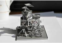Wholesale Diy Drum Set - Wholesale-High precision metal handmade craft DIY 3D assembly musical instrument model Rack drum set kits home artcraft,hot best gifts