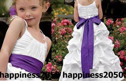 $enCountryForm.capitalKeyWord Australia - Lovely White Taffeta Straps Flower Girl Dress Holidays Skirt Birthday Dresses Pageant Dresses Custom Size 2 4 6 8 10 12 F1218101