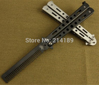 Wholesale Balisong Knife Comb - Wholesale-1PCS Stainless Steel Metal Practice Training Butterfly Balisong Style Knife Comb