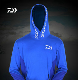 white waterproof clothing Promo Codes - Wholesale-Daiwa sun protection Fishing clothing quick-drying athletics breathable mesh hooded Free Shipping