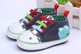 Wholesale Canvas Frog Baby Shoes - Wholesale-Baby Girl Boy Cartoon Frog Shoes New Born Baby First Walkers Prewalker Shoes Freeshipping
