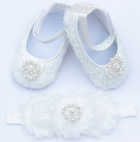 Wholesale Headbands Matching Shoes - Wholesale-New Baby Girls Flower Shoes with Rhinestone and Match Headband Infant First Walkers Shoes Princess Dance