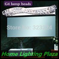 Wholesale Modern Luxury Bathroom - Wholesale-Free Shipping, bathroom mirror cabinet light,simple and modern,luxury crystal mirror front lamps,crystal wall lamp,G4 lamp beads