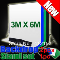 Wholesale Background Muslin Kit - Wholesale-3*6m Photography Studio Equipment Photo Background Backdrop Cloth with HUGE 2.8M X 3.0M Stand Muslin Kit 2pcs backdrops + stand