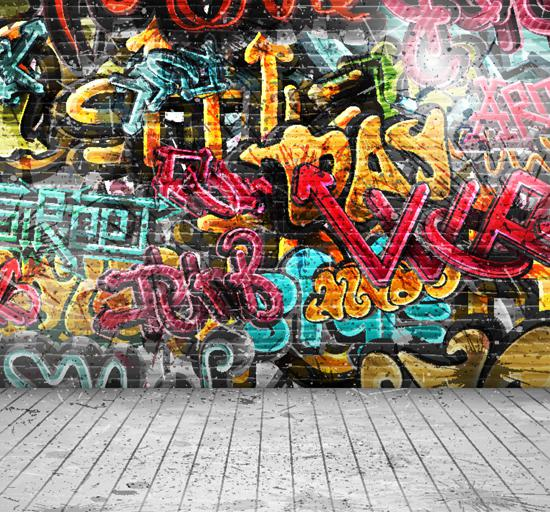 Wholesale-Thin fabric cloth Printed photography background graffiti Bricks wall backdrop XT-2399
