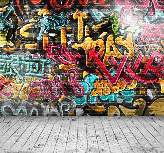 Panno di tessuto all'ingrosso-stampato Fotografia di sfondo graffiti Muro di mattoni sfondo XT-2399