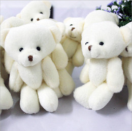 Wholesale Stuffed 12cm Teddy Bears - Wholesale-Free shipping Hot sale 12 Pcs lot 12cm Rice yellow Lovely Mini Stuffed Jointed Bear For Gift Plush Teddy Bear Toy #1061