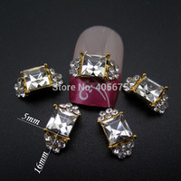Wholesale China Beauty Supplies - Wholesale-MNS651C nail art gold Square ring 3d nail art charms china beauty supplies nails decorations new arrive 50pcs