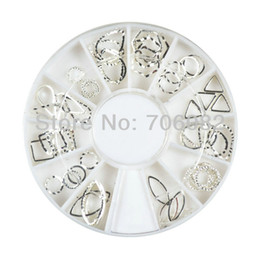Wholesale Metal Fashion Nail Patch - Wholesale-New Fashion 3D Nail Art Studs Rhinestone Sticker Silver Patch Hollow metal frame Decoration DIY ZP005