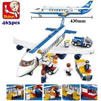 Wholesale Blocks Brick M38 - Wholesale-Simple box Sluban M38-B0366 Air bus Plane aviation Building Blocks Transport enlighten aircraft vehicle Toys Bricks set for kids