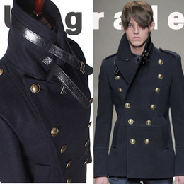 Discount british clothing for men - Wholesale-gothic those days clothing british winter slim fit navy blue blazer wool mens pea coat trench long jackets coa