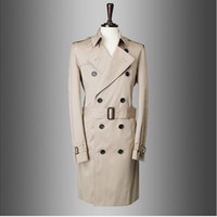 Wholesale man long trench coat - Wholesale-Fashion Brand Trench Coat Men Europe America Style Double-Breasted Mens Coats And Jackets Colour Beige Navy Blue Size M-XXL
