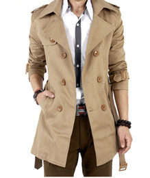 Мужская двубортная куртка продажа онлайн-Wholesale-HOT SALE MENS CASUAL DOUBLE BREASTED TRENCH COAT SLIM FIT (BLACK,KHAKI) winter fashion jacket,popular jacket Free shipping