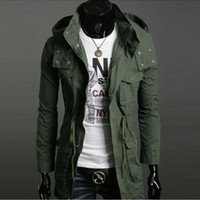 Wholesale Wool Military Coat Men Fashion - Wholesale-BRAND Freeshipping Mens Hooded Coat Thin Jaqueta Wool Winter Jacket Mens Thicken Overcoat Long Trench Coats Slim Military Jacket
